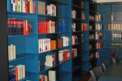 blaues Bücherregal