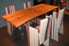 Tischvariante mit bunten Stühlen
