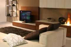minimalistische Wohnwand in braun